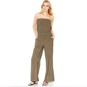 Rachel Roy Dark Green Strapless Wide Leg Jumpsuit